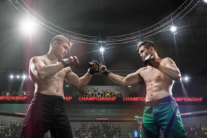 mma fighters square off