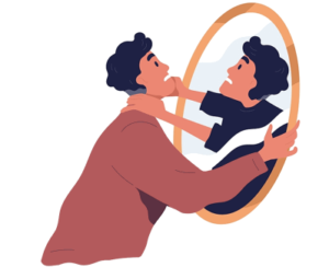 negative reflection concept mirror