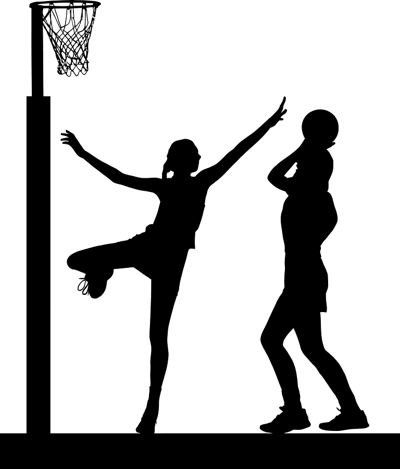 netball player shooting silhouette