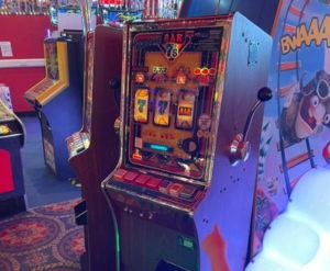 one arm bandit in an arcade