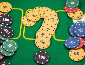 poker chips in shape of a question mark