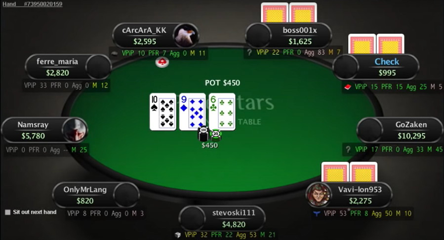 poker game with a heads up display showing stats