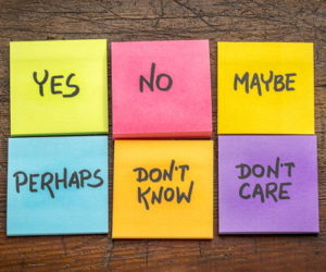 post it notes with yes no maybe answers