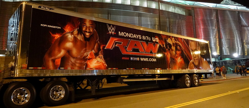 raw poster on the side of a truck