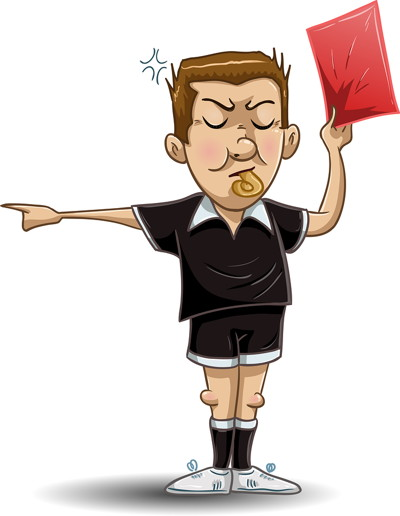 referee holding a red card