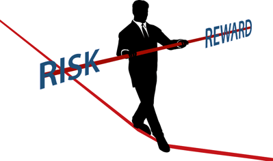 risk vs reward man on a tightrope
