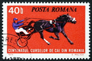 Romanian stamp to commemorate harness racing centenary in 1974
