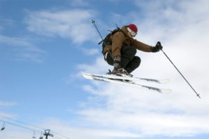 ski jumper in the air