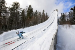 ski jumper on a slope