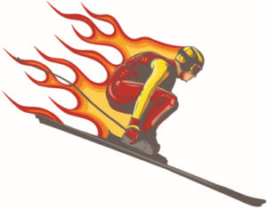 ski jumper with flames icon