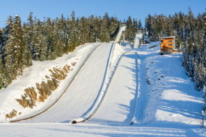 ski jumping slopes with fresh snow
