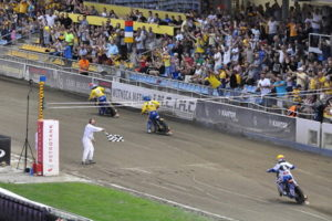 speedway race finish and chequered flag
