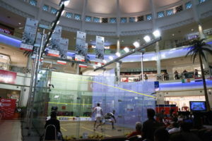 squash match inside a shopping center