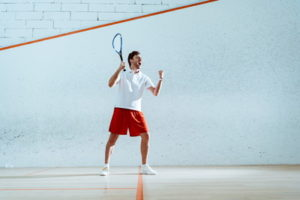 squash player celebrating point
