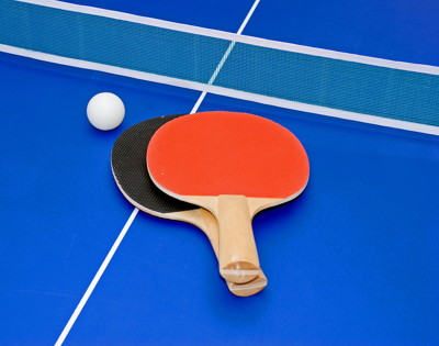 table tennis table bats ball and net