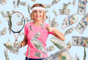 tennis player with money raining around them