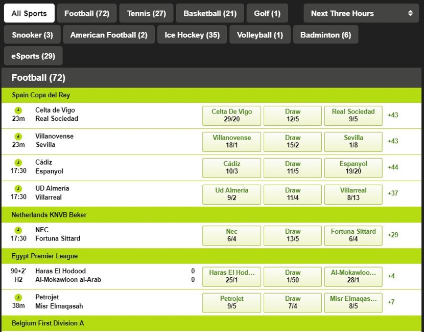 Totesport Markets and Odds