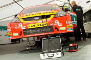 touring car in garage