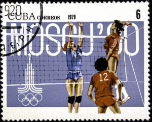 volleyball stamp moscow olympic games 1980