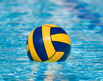 water polo ball floating in a pool