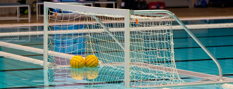 water polo goal with balls