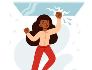 woman breaking glass ceiling